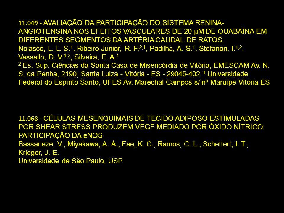 11.049 - AVALIAÇÃO DA PARTICIPAÇÃO DO SISTEMA RENINA-ANGIOTENSINA NOS EFEITOS VASCULARES DE 20 µΜ DE OUABAÍNA EM DIFERENTES SEGMENTOS DA ARTÉRIA CAUDAL DE RATOS.