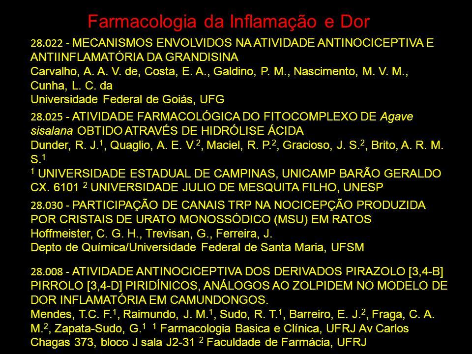 Farmacologia da Inflamação e Dor