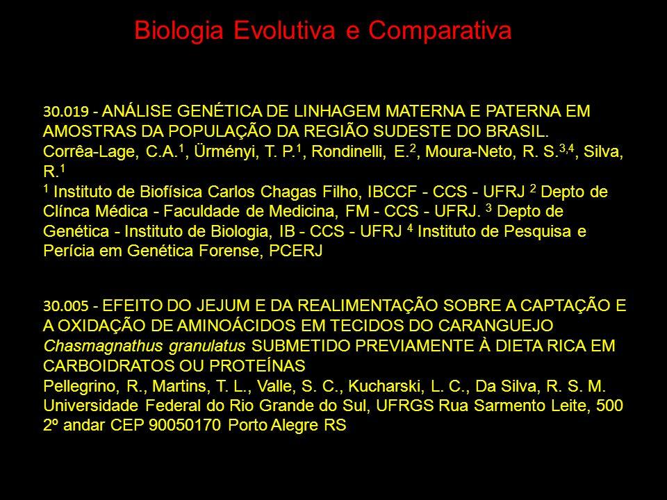 Biologia Evolutiva e Comparativa