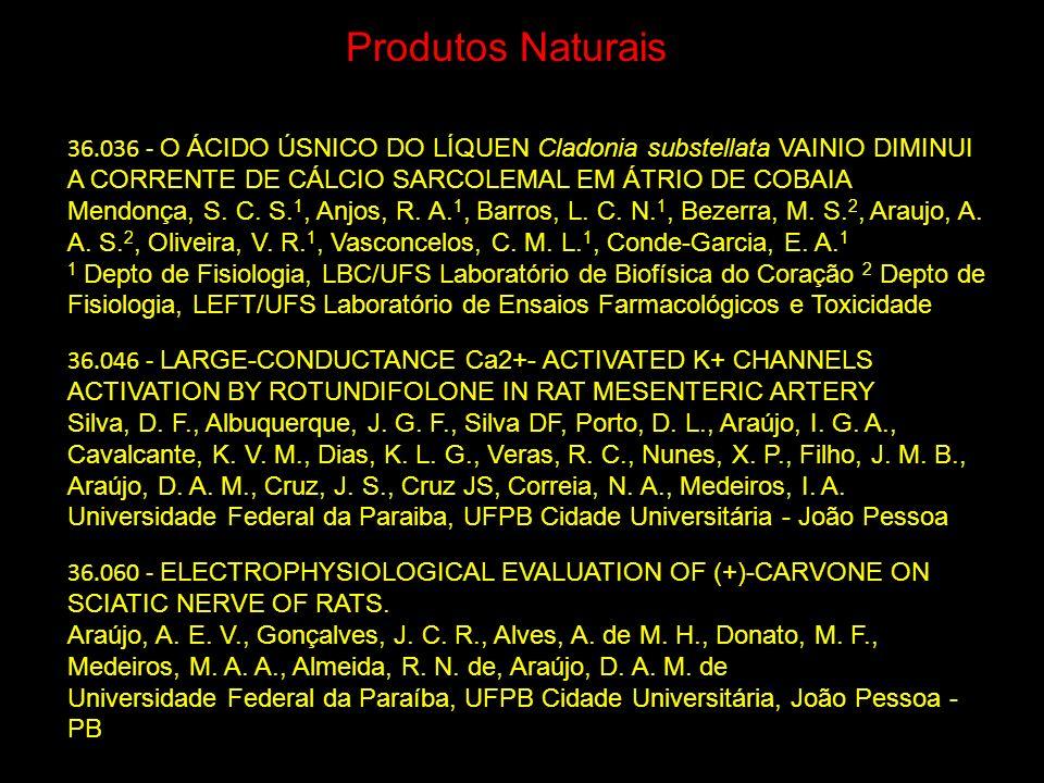 Produtos Naturais 36.036 - O ÁCIDO ÚSNICO DO LÍQUEN Cladonia substellata VAINIO DIMINUI A CORRENTE DE CÁLCIO SARCOLEMAL EM ÁTRIO DE COBAIA.