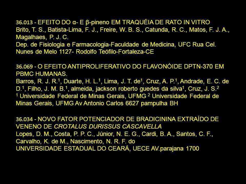 36.013 - EFEITO DO α- E β-pineno EM TRAQUÉIA DE RATO IN VITRO