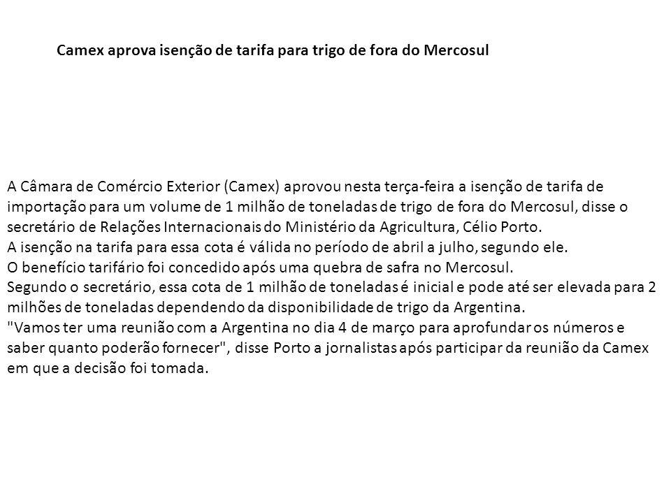 Camex aprova isenção de tarifa para trigo de fora do Mercosul