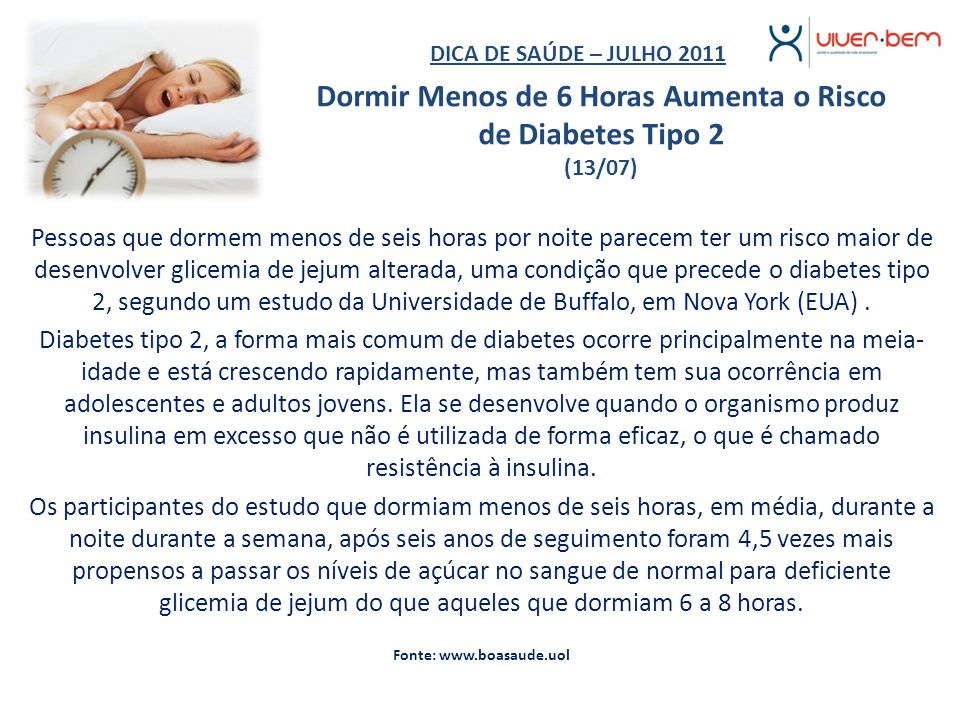 Dormir Menos de 6 Horas Aumenta o Risco de Diabetes Tipo 2 (13/07)