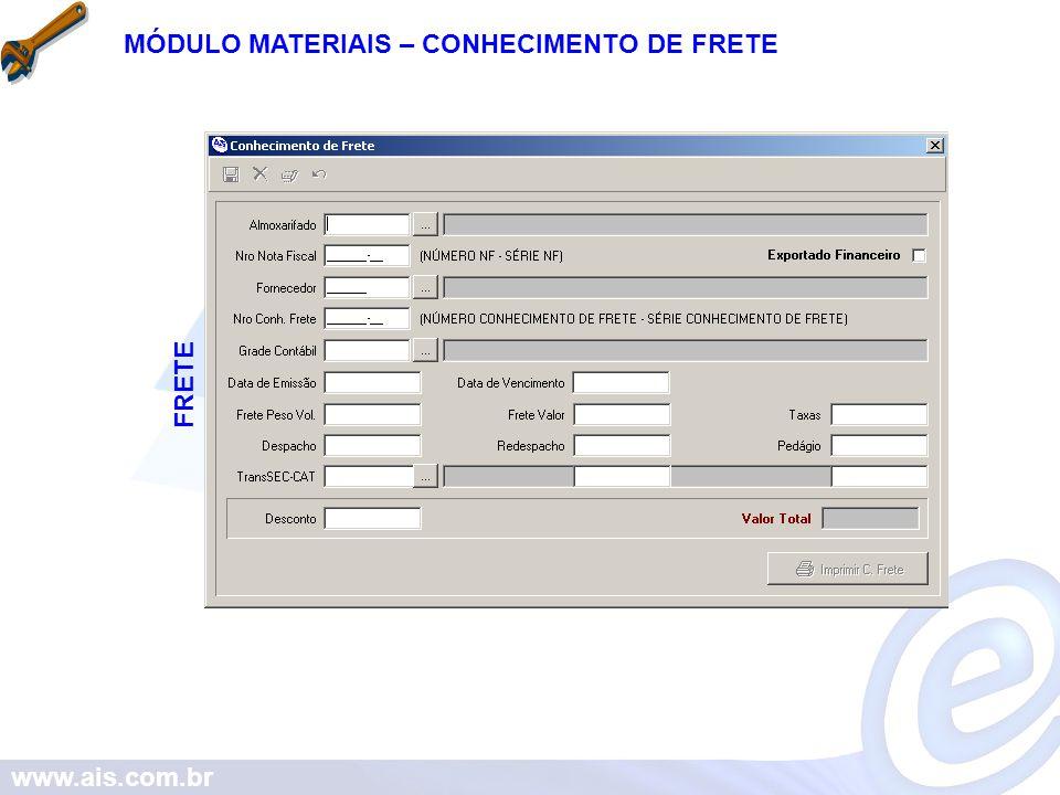 MÓDULO MATERIAIS – CONHECIMENTO DE FRETE