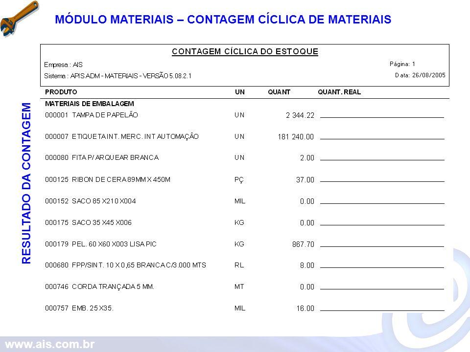 MÓDULO MATERIAIS – CONTAGEM CÍCLICA DE MATERIAIS