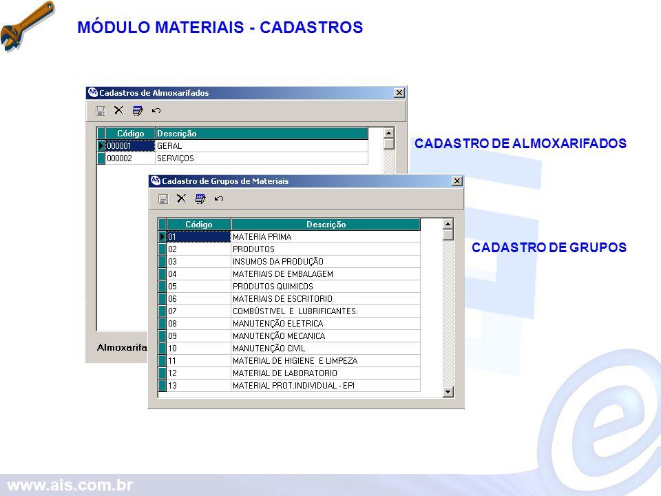 MÓDULO MATERIAIS - CADASTROS