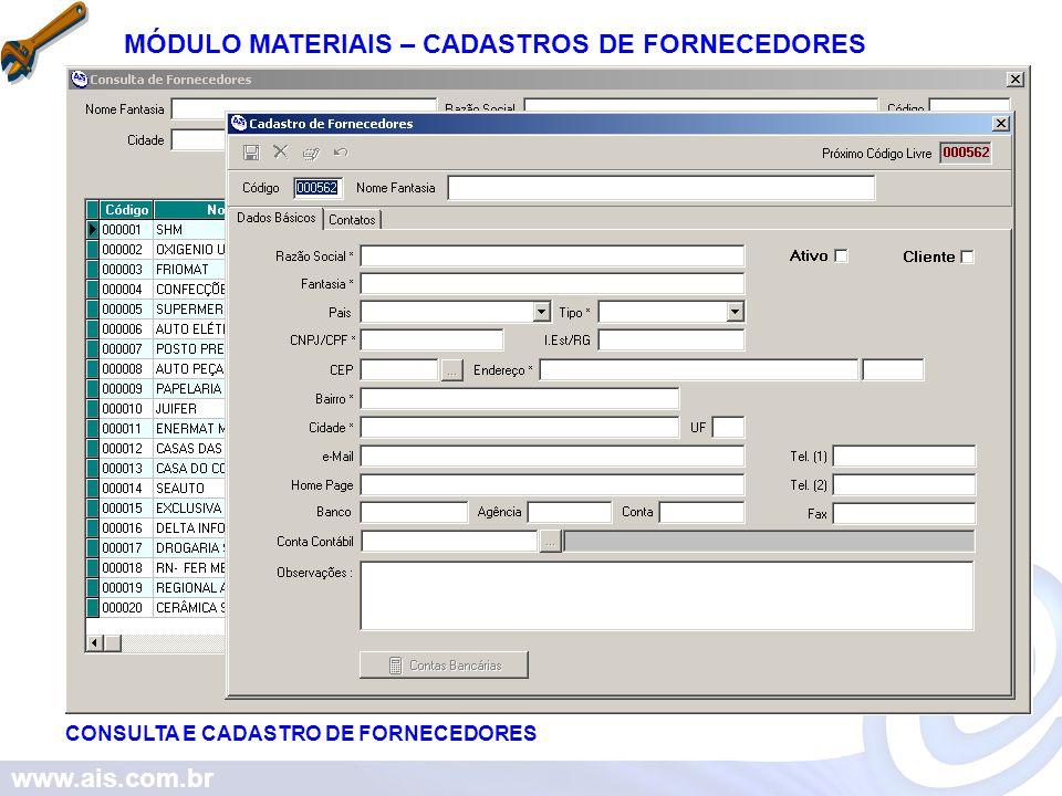 MÓDULO MATERIAIS – CADASTROS DE FORNECEDORES