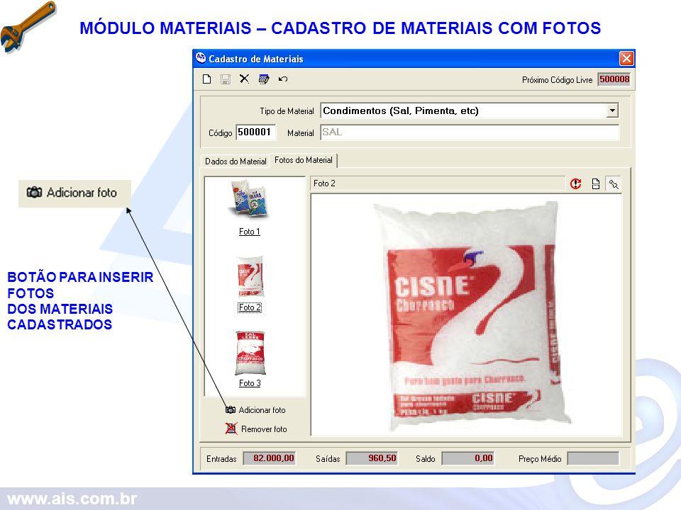 MÓDULO MATERIAIS – CADASTRO DE MATERIAIS COM FOTOS