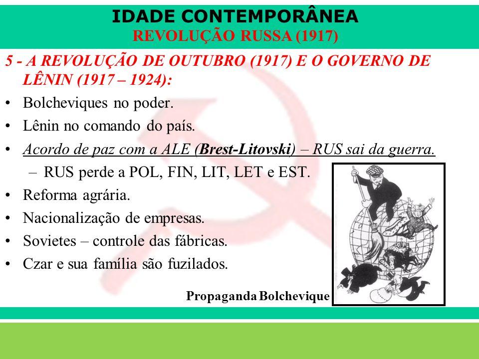 5 - A REVOLUÇÃO DE OUTUBRO (1917) E O GOVERNO DE LÊNIN (1917 – 1924):