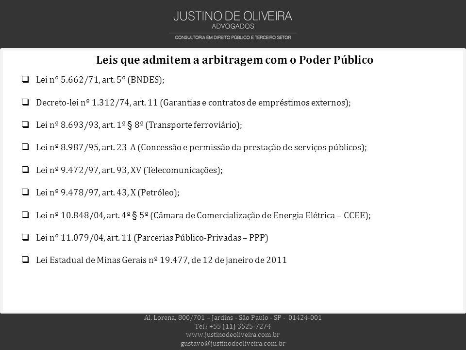 Leis que admitem a arbitragem com o Poder Público