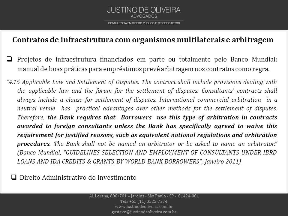 Contratos de infraestrutura com organismos multilaterais e arbitragem