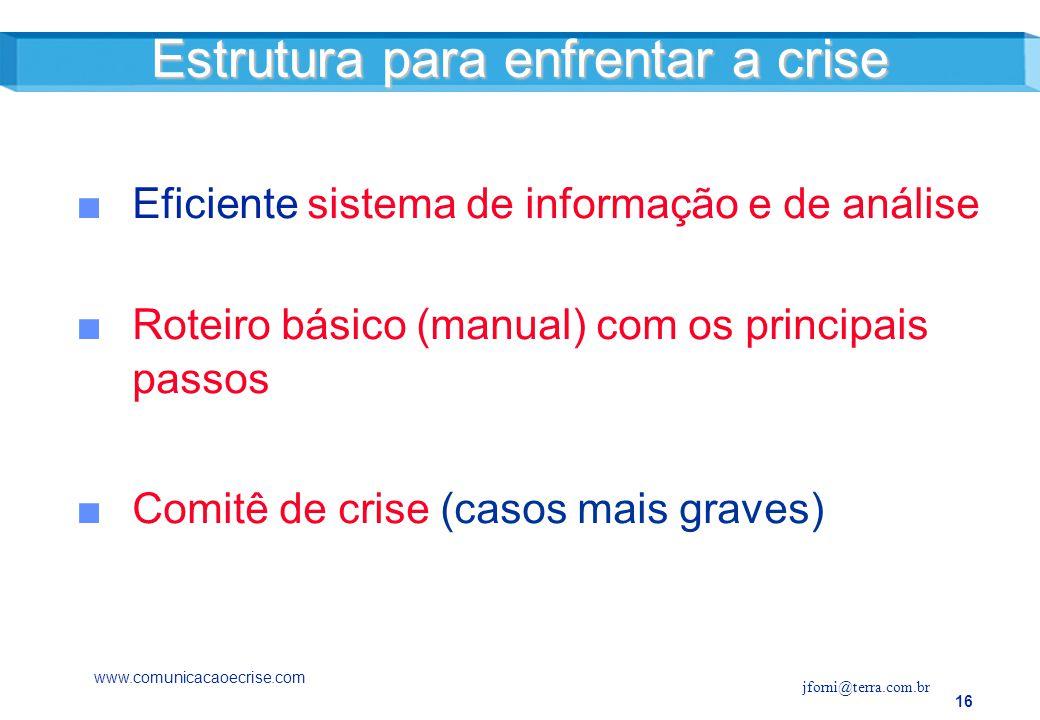 Estrutura para enfrentar a crise