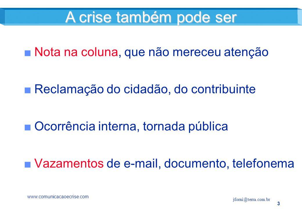 A crise também pode ser Nota na coluna, que não mereceu atenção