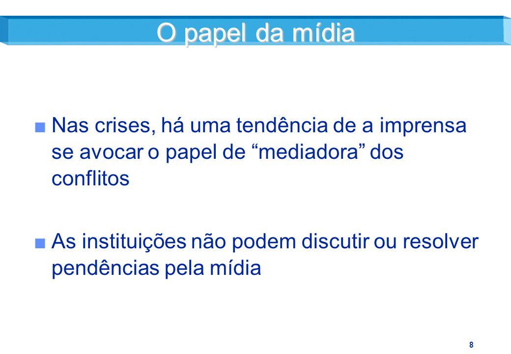 O papel da mídia Nas crises, há uma tendência de a imprensa se avocar o papel de mediadora dos conflitos.