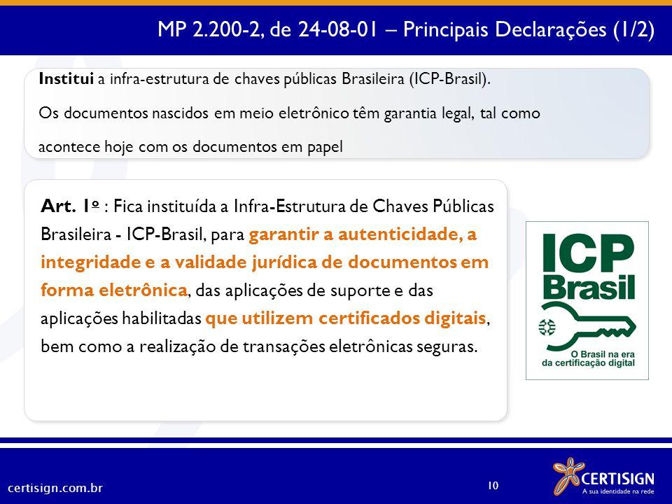 MP 2.200-2, de 24-08-01 – Principais Declarações (1/2)