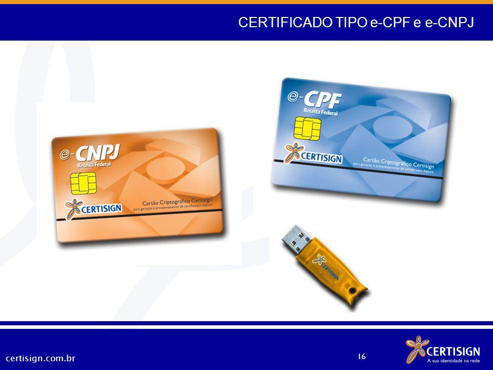 CERTIFICADO TIPO e-CPF e e-CNPJ