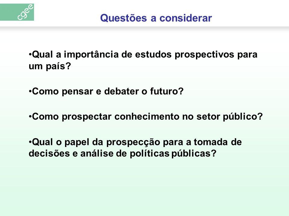 Questões a considerar Qual a importância de estudos prospectivos para um país Como pensar e debater o futuro