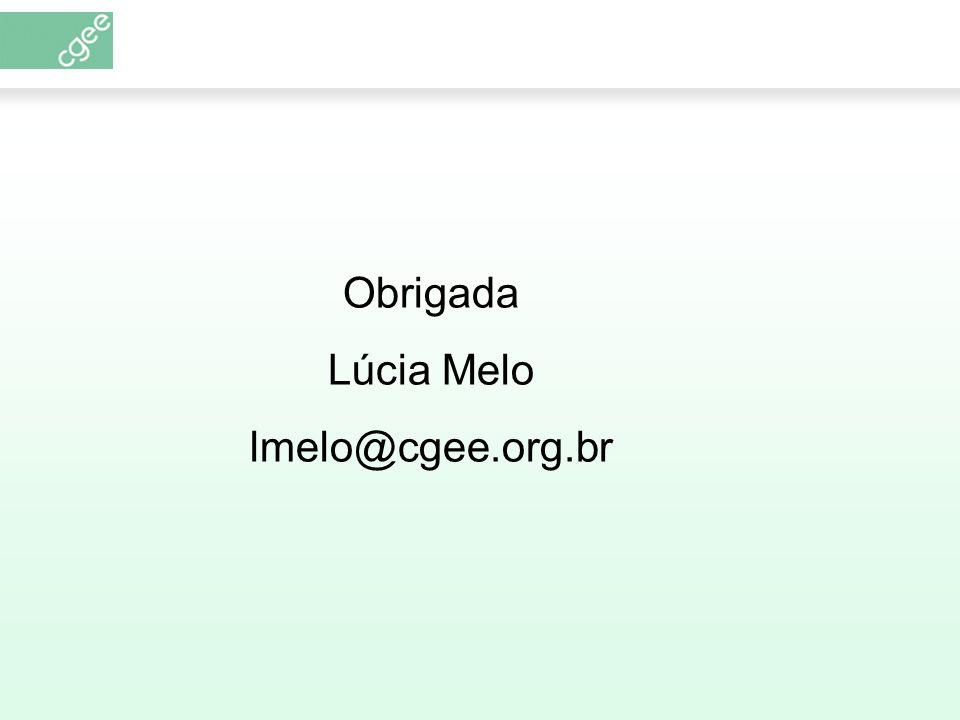Obrigada Lúcia Melo lmelo@cgee.org.br