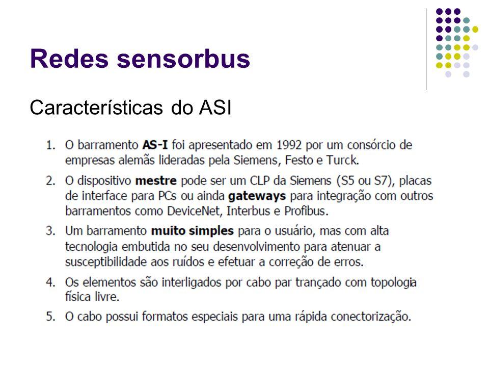 Redes sensorbus Características do ASI