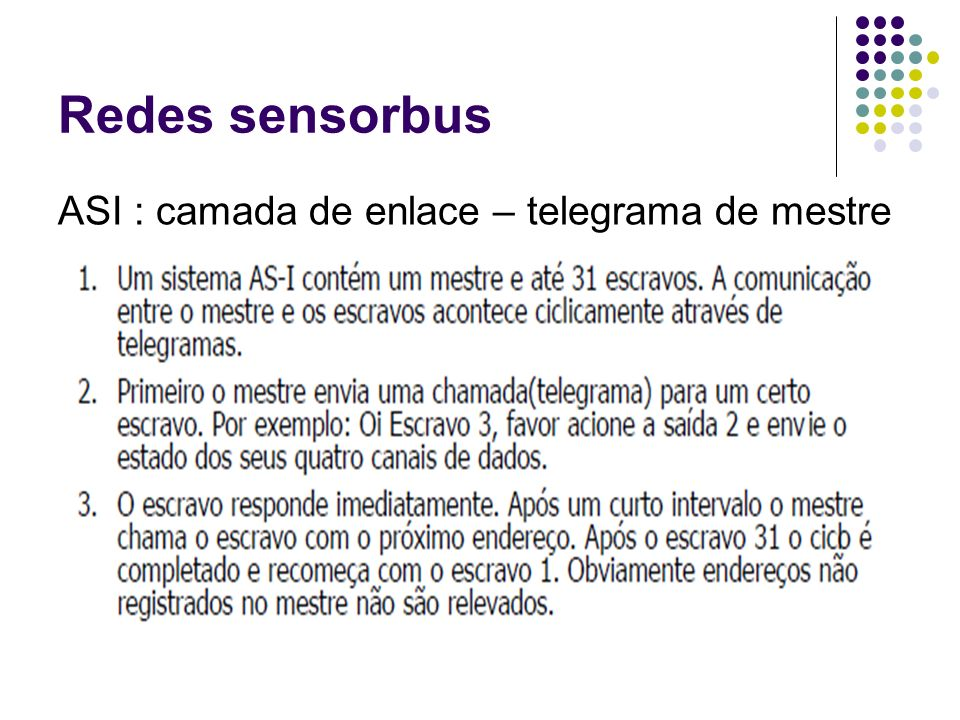 Redes sensorbus ASI : camada de enlace – telegrama de mestre