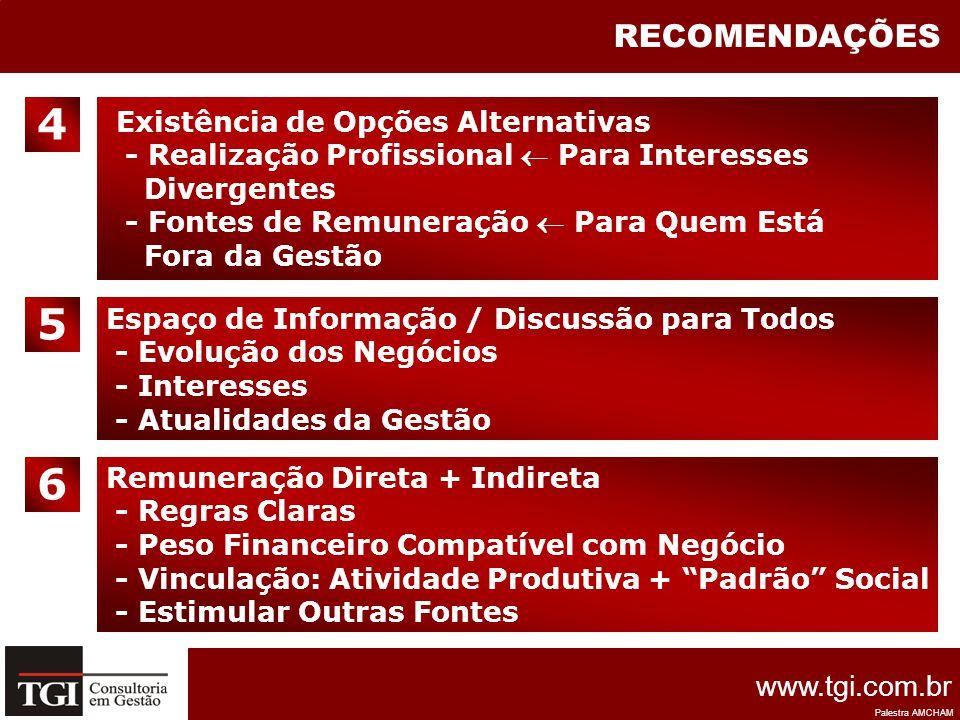 4 5 6 RECOMENDAÇÕES Existência de Opções Alternativas