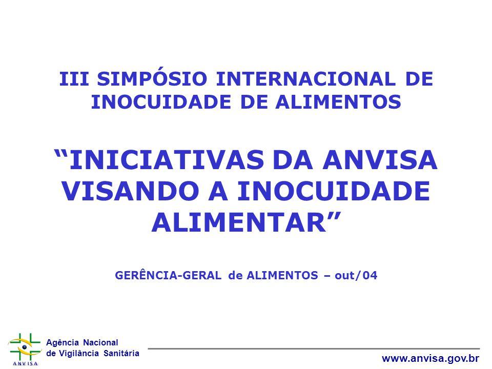 III SIMPÓSIO INTERNACIONAL DE INOCUIDADE DE ALIMENTOS INICIATIVAS DA ANVISA VISANDO A INOCUIDADE ALIMENTAR GERÊNCIA-GERAL de ALIMENTOS – out/04
