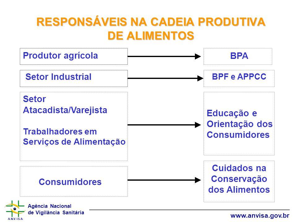 RESPONSÁVEIS NA CADEIA PRODUTIVA DE ALIMENTOS