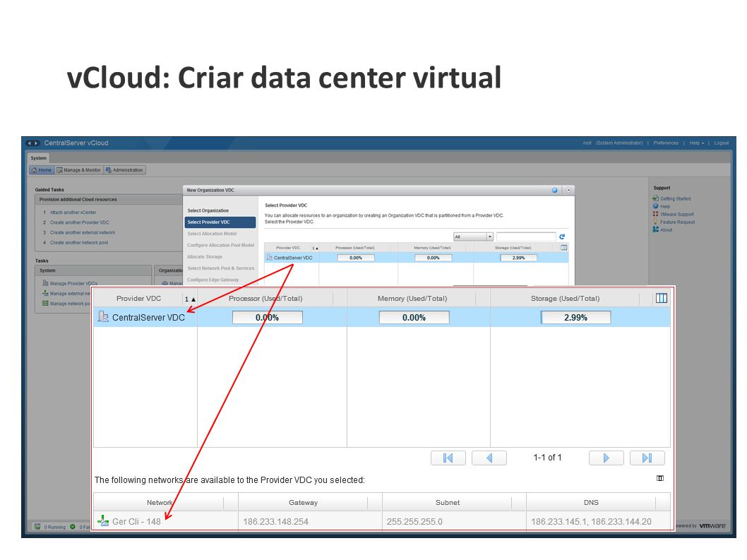 vCloud: Criar data center virtual