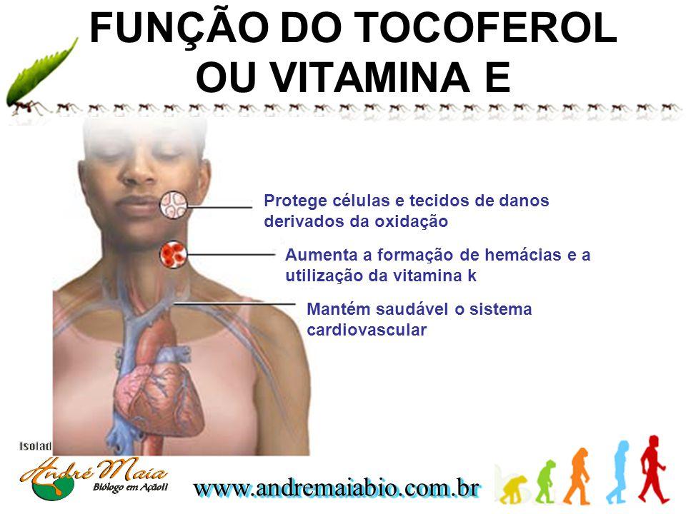 FUNÇÃO DO TOCOFEROL OU VITAMINA E