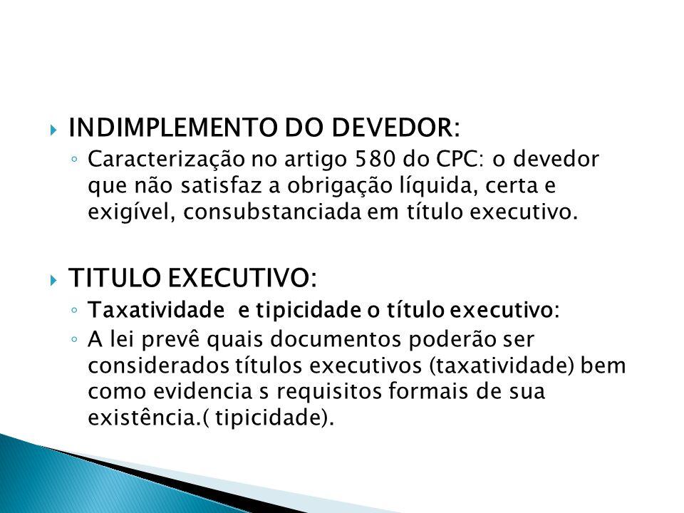 INDIMPLEMENTO DO DEVEDOR: