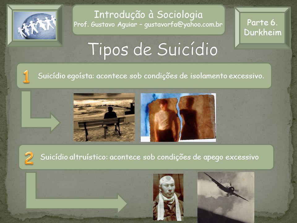 Tipos de Suicídio 1 2 Introdução à Sociologia Parte 6. Durkheim
