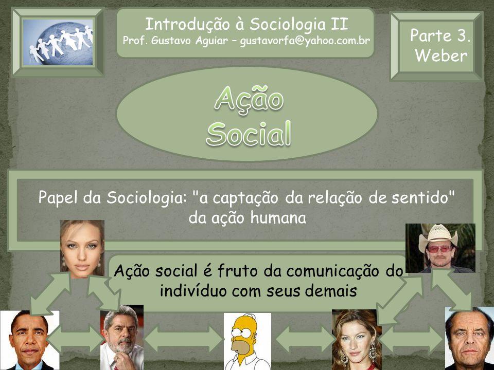 Ação Social Introdução à Sociologia II Parte 3. Weber