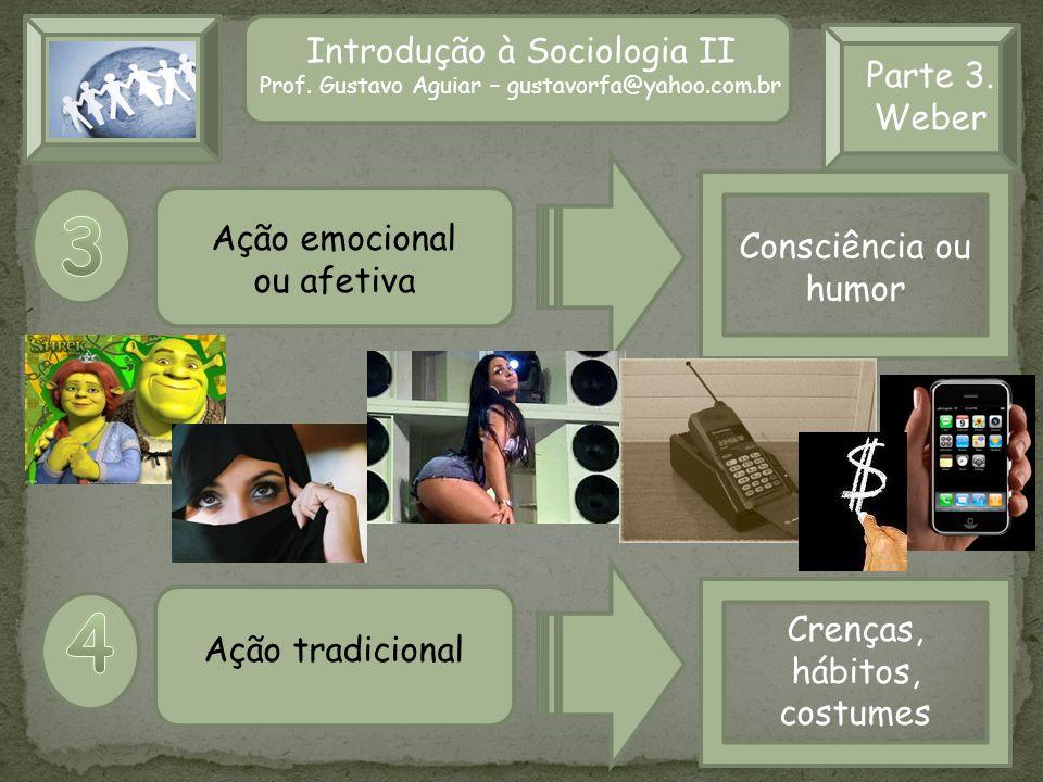 3 4 Introdução à Sociologia II Parte 3. Weber Ação emocional