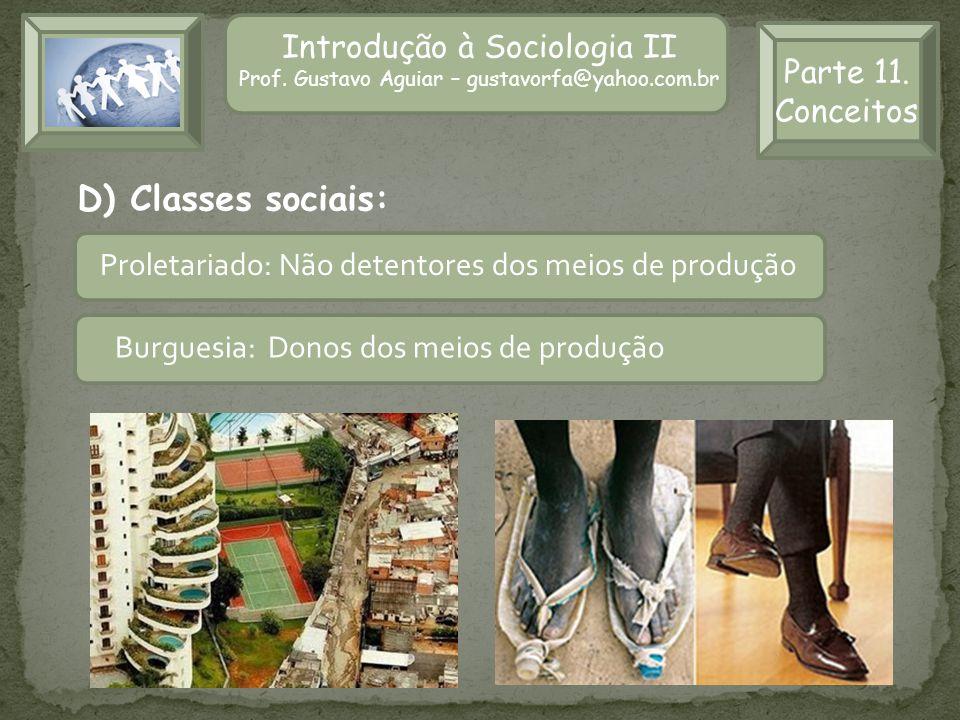 D) Classes sociais: Introdução à Sociologia II Parte 11. Conceitos
