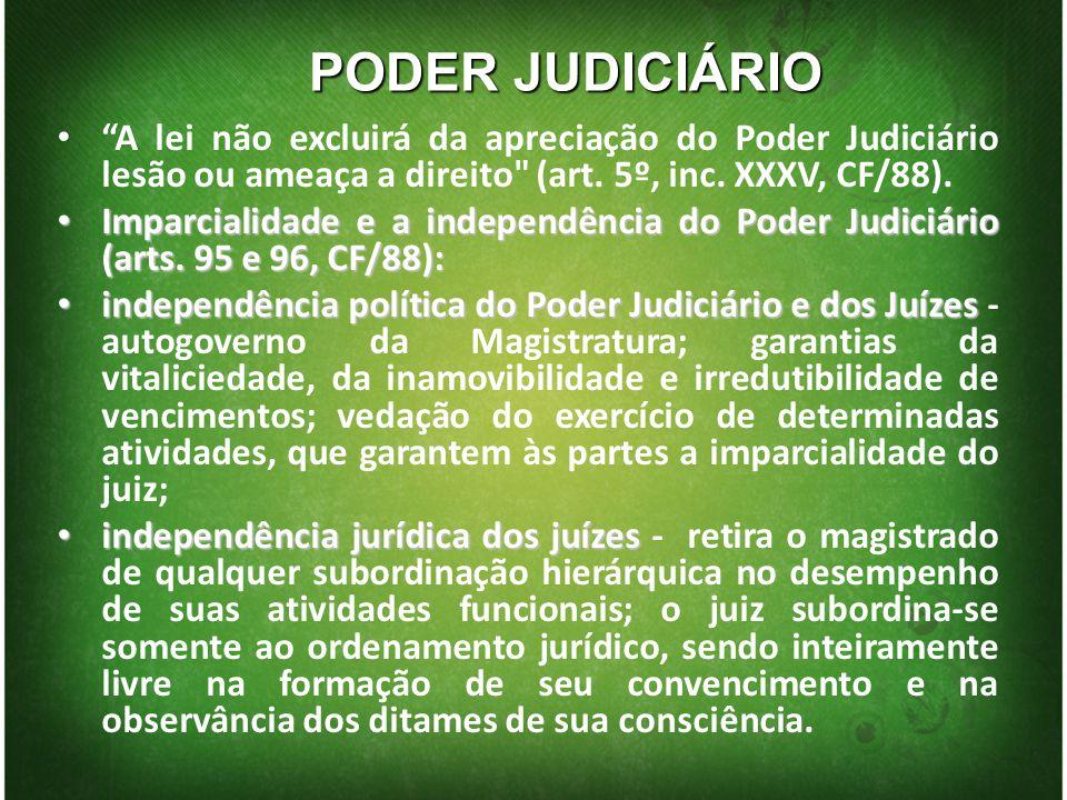 PODER JUDICIÁRIO A lei não excluirá da apreciação do Poder Judiciário lesão ou ameaça a direito (art. 5º, inc. XXXV, CF/88).