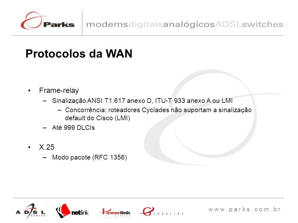 Protocolos da WAN Frame-relay X.25