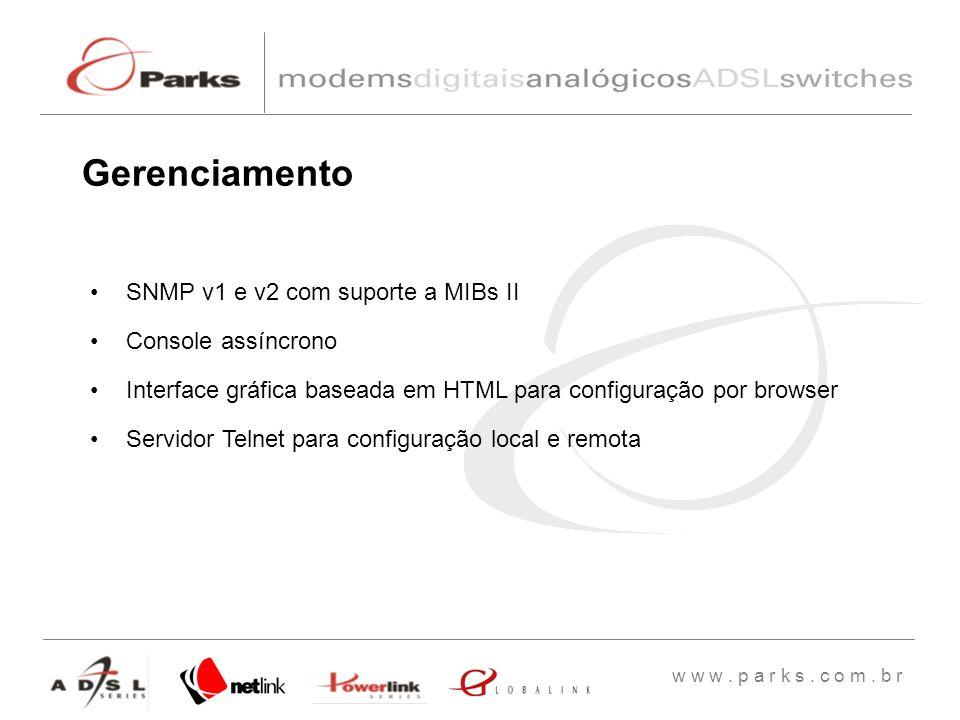 Gerenciamento SNMP v1 e v2 com suporte a MIBs II Console assíncrono