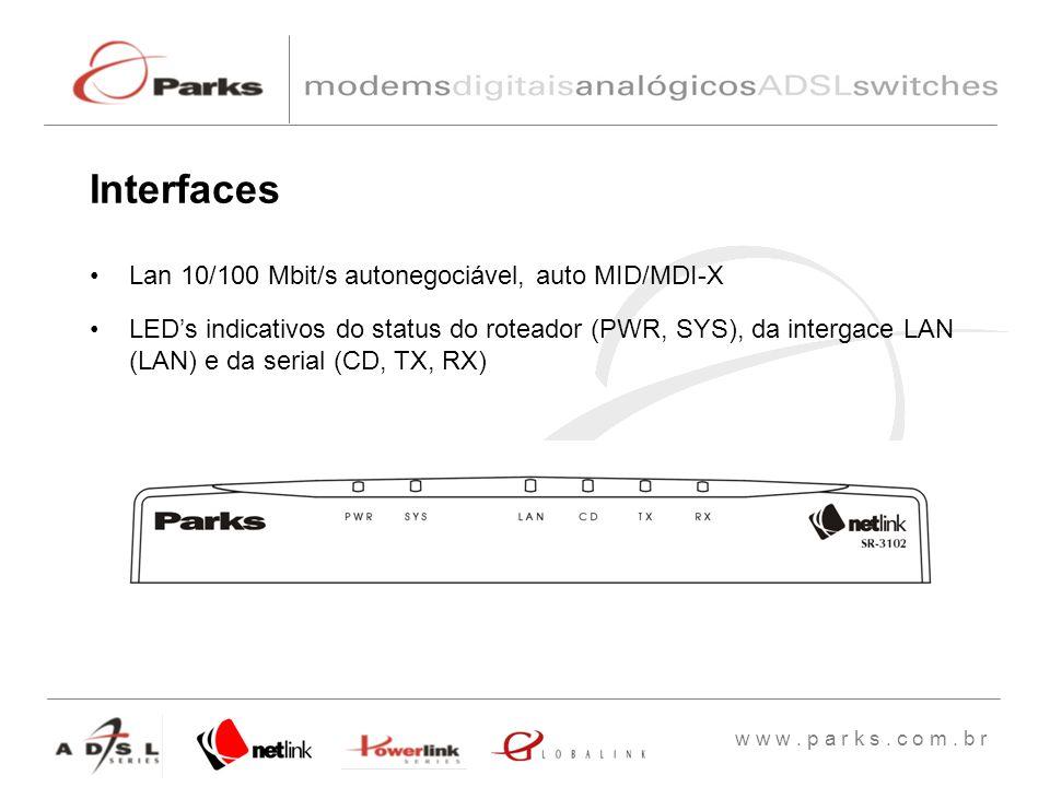 Interfaces Lan 10/100 Mbit/s autonegociável, auto MID/MDI-X