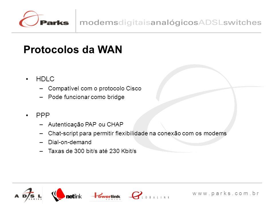 Protocolos da WAN HDLC PPP Compatível com o protocolo Cisco