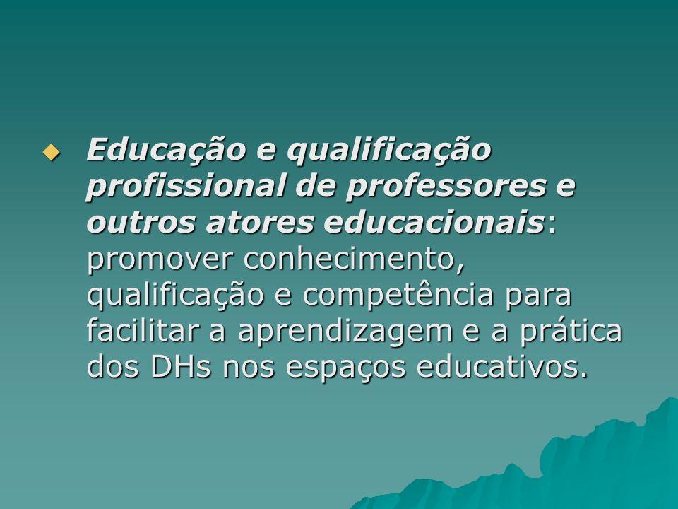 Educação e qualificação profissional de professores e outros atores educacionais: promover conhecimento, qualificação e competência para facilitar a aprendizagem e a prática dos DHs nos espaços educativos.