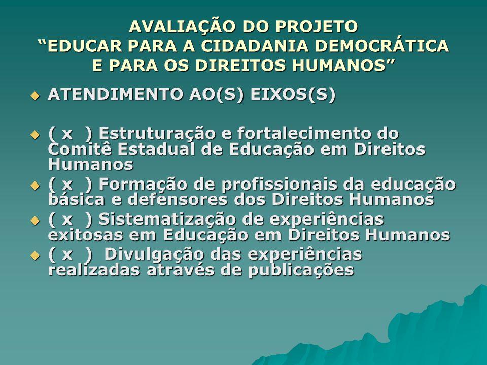 AVALIAÇÃO DO PROJETO EDUCAR PARA A CIDADANIA DEMOCRÁTICA E PARA OS DIREITOS HUMANOS