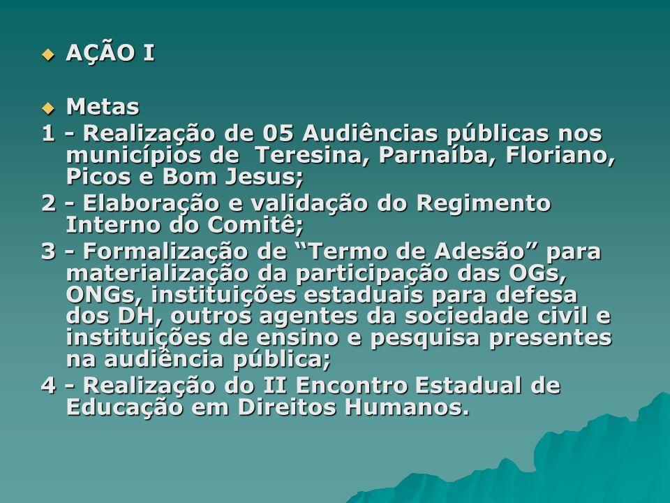 AÇÃO I Metas. 1 - Realização de 05 Audiências públicas nos municípios de Teresina, Parnaíba, Floriano, Picos e Bom Jesus;