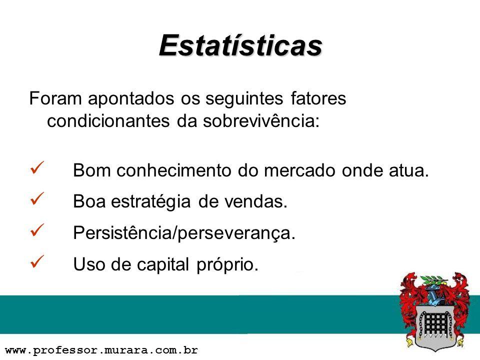 Estatísticas Foram apontados os seguintes fatores condicionantes da sobrevivência: Bom conhecimento do mercado onde atua.