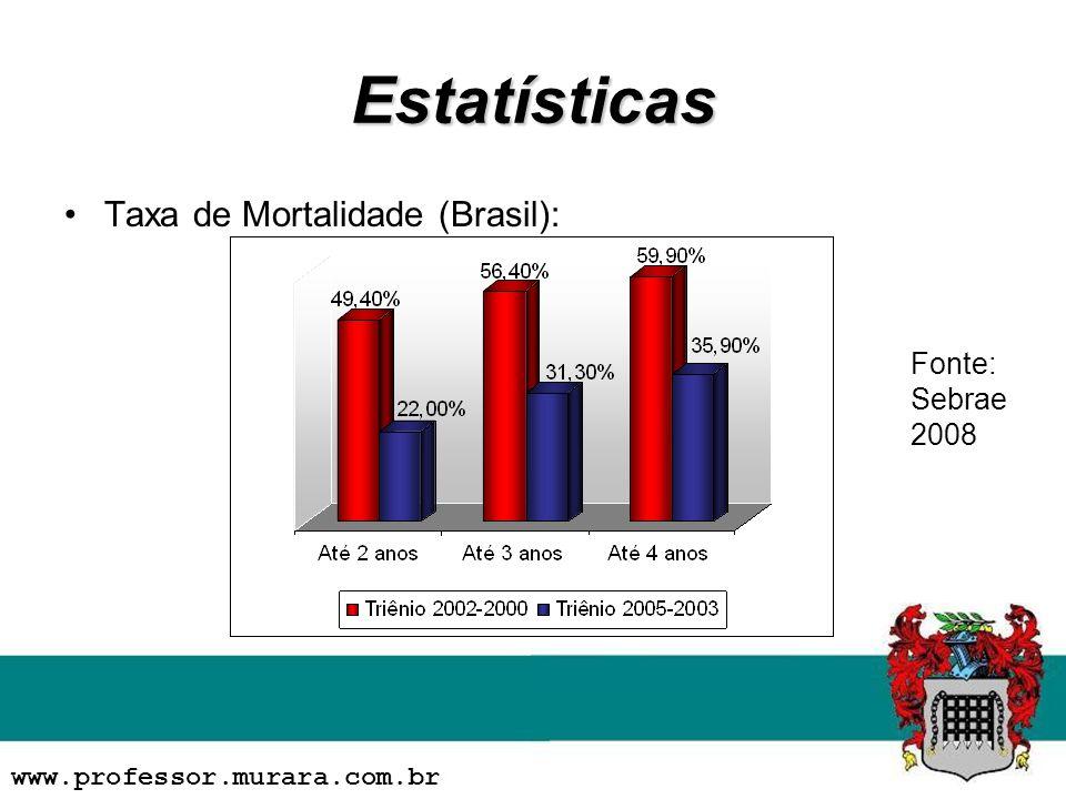 Estatísticas Taxa de Mortalidade (Brasil): Fonte: Sebrae 2008
