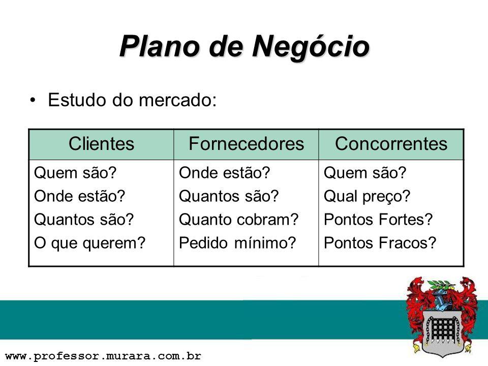 Plano de Negócio Estudo do mercado: Clientes Fornecedores Concorrentes
