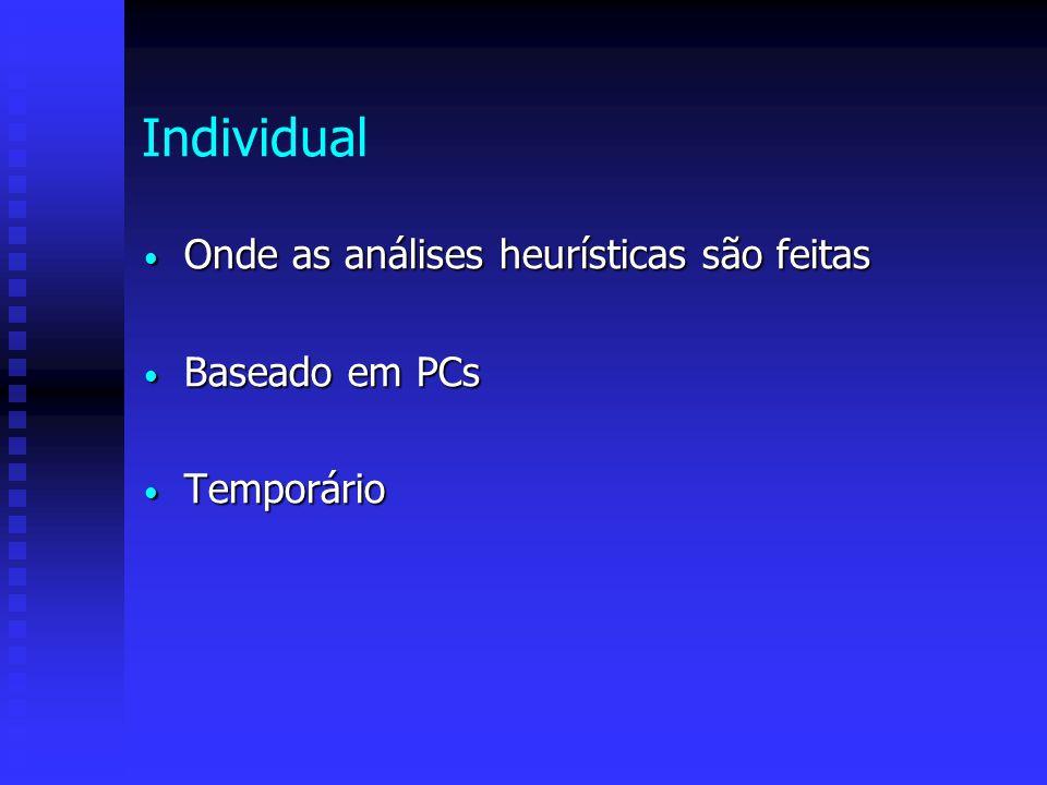 Individual Onde as análises heurísticas são feitas Baseado em PCs