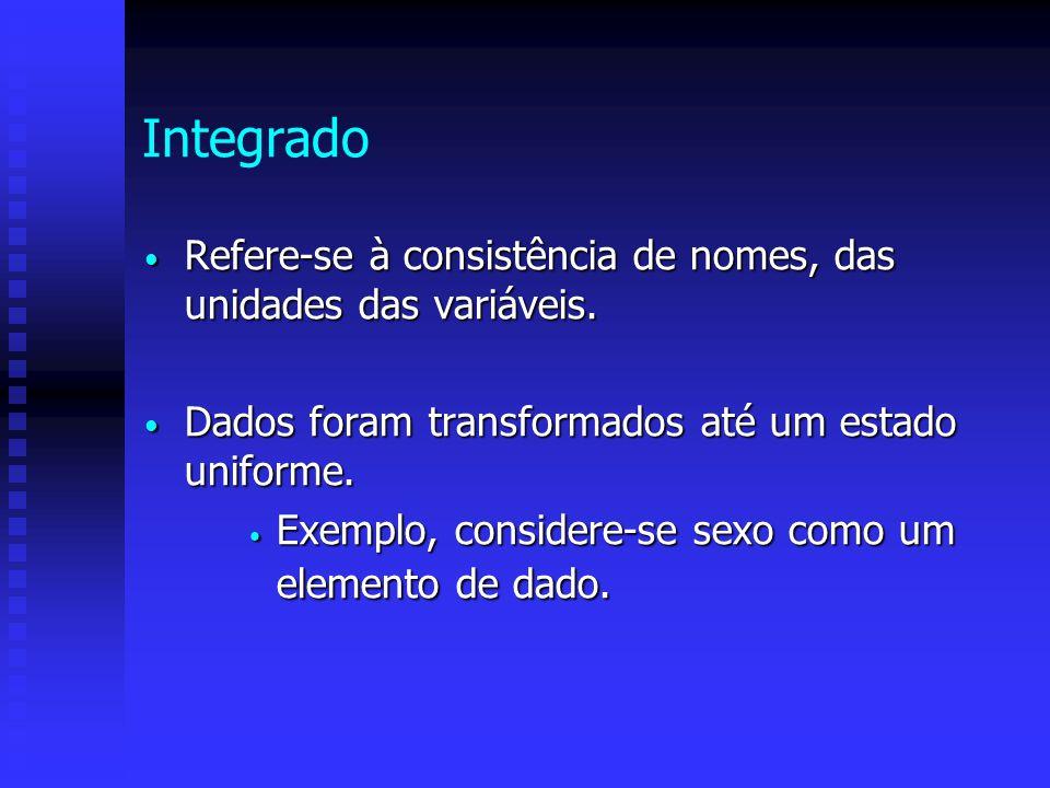 Integrado Refere-se à consistência de nomes, das unidades das variáveis. Dados foram transformados até um estado uniforme.