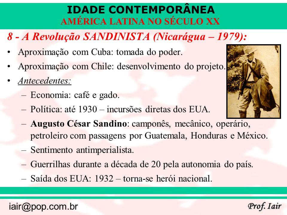 8 - A Revolução SANDINISTA (Nicarágua – 1979):