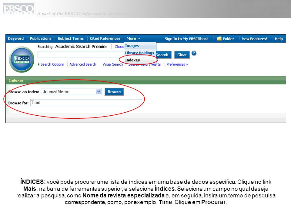 ÍNDICES: você pode procurar uma lista de índices em uma base de dados específica.