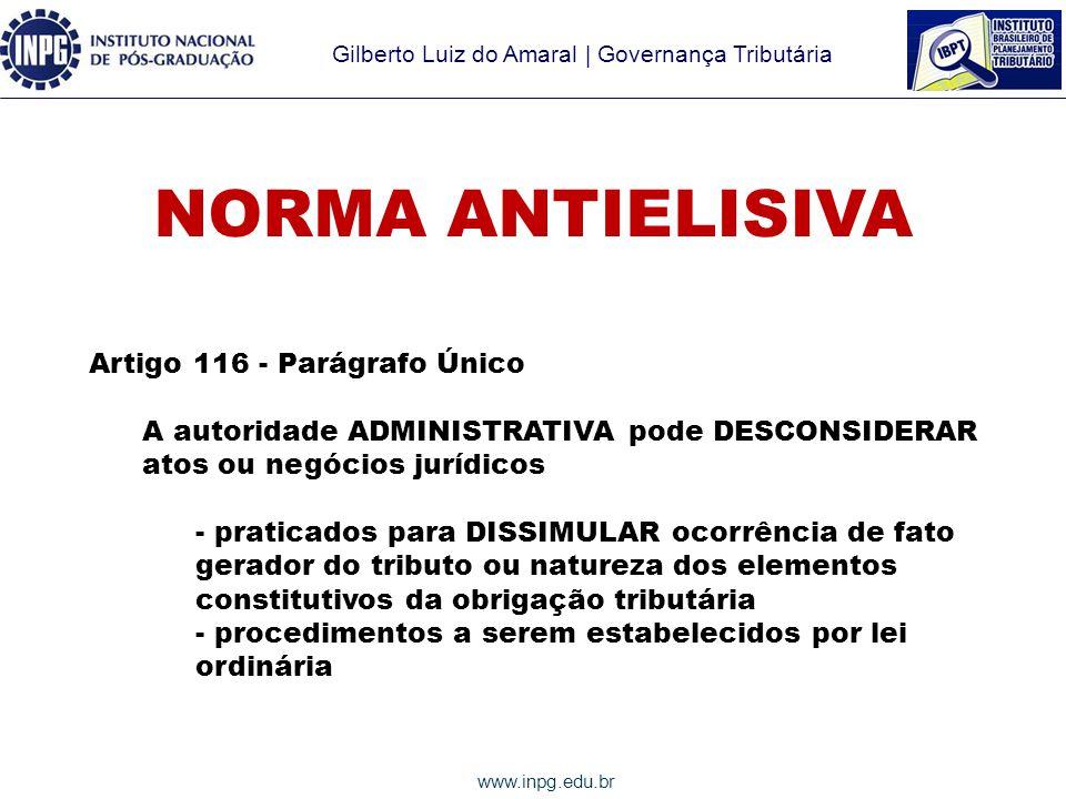 NORMA ANTIELISIVA Artigo 116 - Parágrafo Único